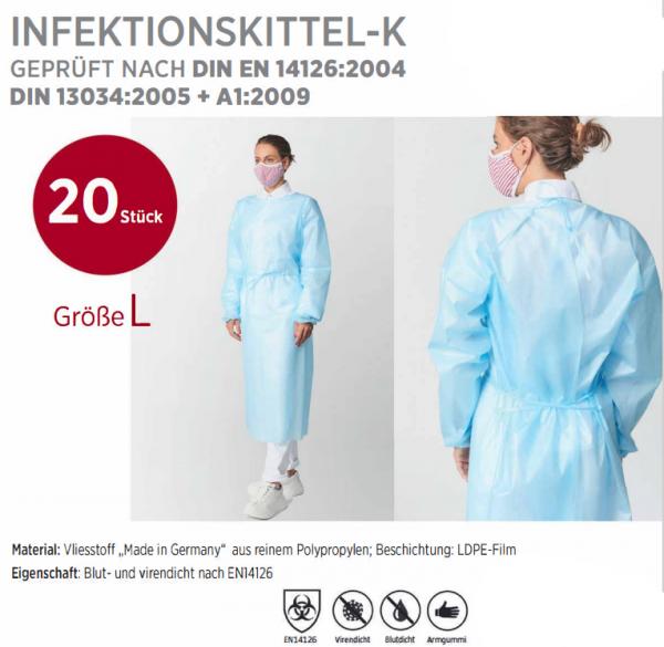 Infektionskittel-K - Schutzkittel EN 14126 - 20 Stück Größe L