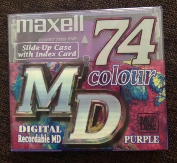 Maxell MiniDisc 74 Colour Digital Recordable MD Purple