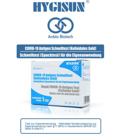 HYGISUN Anbio Biotech Covid-19 Antigen Schnelltest - Spucktest / Laientest 1 Stück